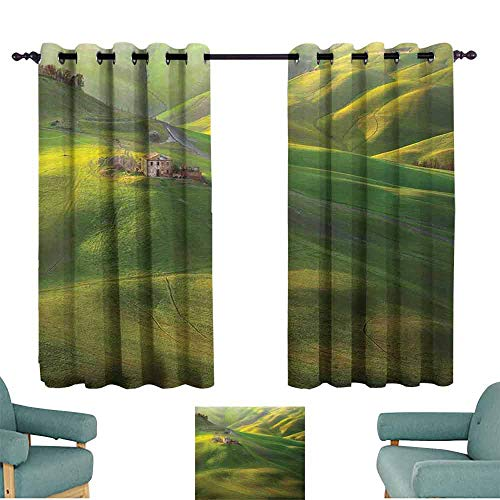 Tuscany Pergola Set - HCCJLCKS Bedroom Windproof Curtain Tuscan Tuscany Hills Sunset Scenery Green Meadow Agriculture Country Farm House Theme Blackout Draperies for Bedroom Living Room W63 xL72 Green and Yellow