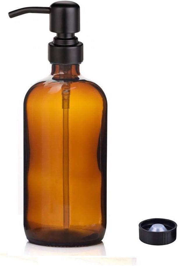 Kaiking 16 oz Amber Glass Boston Round Bottles Dispensador-Dispensador de Jabón Líquido con Bomba de Rustproof de Acero Inoxidable Negro Mate para Aceites Esenciales, Detergente de Lociones