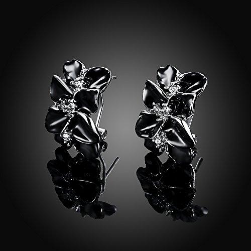 f496a030c165 Chic BODYA elegant esmalte negro hojas rama Gardenia flor CZ Floral Huggie  pendientes Ear Studs blanco
