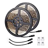 LE 16.4ft LED Light Strip, 300 Units 2835 LEDs, 12V DC Waterproof Light Strips, Daylight White Flexible LED Ribbon, Christmas Holiday Home Kitchen Car Bar Indoor Decoration and More, Pack of 2 Units