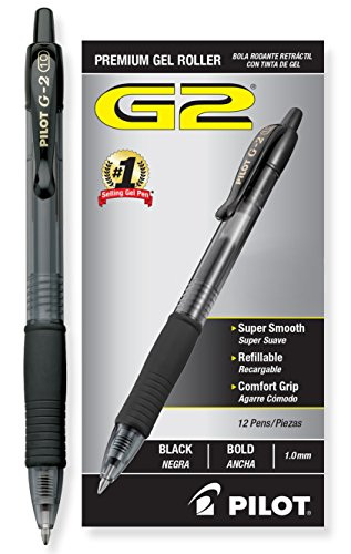 Pilot G2 Retractable Premium Gel Ink Roller Ball Pens Bold Pt (1.) Dozen Box Black; Retractable, Refillable & Premium Comfort Grip; Smooth Lines to the End of the Page, America's #1 Selling Pen Brand (Gel Ink Pen Smooth)