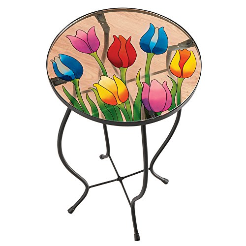 Collections Etc Small Glass End Side Table with Tulips - Perfect for Spring Decoration, Easter Party