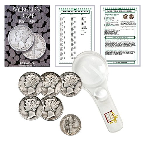 Mercury Native Bundle (Mercury Dime Starter Collection Kit, H.E. Harris [2683] Mercury Dime Folder 1916-1945, Five Mercury Head Dimes, Magnifier and Checklist, (8 Items) Great Start for Beginner Collectors)
