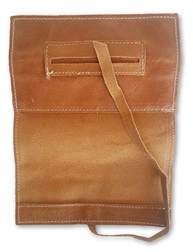 Color around string amp; all with Genuine Case Paper Pouch leather LIGHT Leather Cigarette Roll Smoke ups closing Holder BROWN for Bag Tobacco 1w1q6UntT
