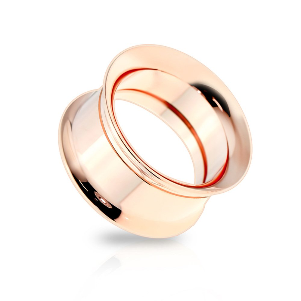 Dynamique Pair Of Internally Threaded Double Flare Rose Gold IP Screw-Fit Tunnels 316L Surgical Steel