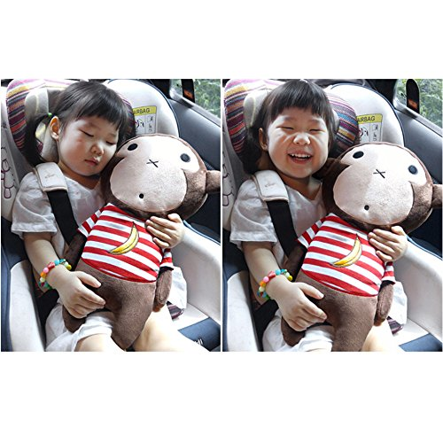 Cute Doll Car Seat Strap Belt Toy Cushion Cover for Kids Children, Auto Adjustable Pillow Pad Vehicle Car Safety Belt Toy Protect Shoulder Chest Child (Monkey)
