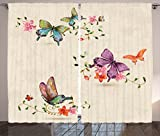 Ambesonne Apartment Decor Curtains, Butterfly Collection on Vintage Background Spiritual Wings Moth Transformation Symbol Print, Living Room Bedroom Decor, 2 Panel Set, 108 W X 84 L Inches, Multi For Sale