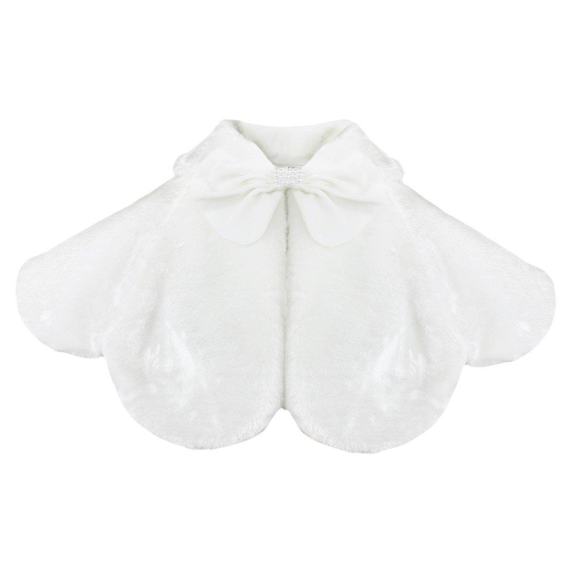 TIAOBU Girls Faux Fur Bow Bolero Wrap Shrug Jacket Wedding Party Princess Cape White 5-6