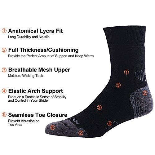 Outdoor Hiking Socks, MEIKAN Hiker Boot Sock Full Cushion Winter Activity Socks Keep Feet Dry & Cool for Men Youth 4 Pairs, Black by MEIKAN (Image #2)