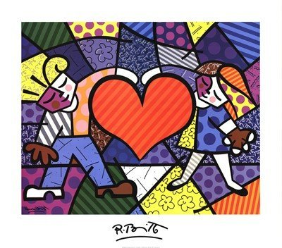 (Heart Kids by Romero Britto Children Hearts Whimsical Pop Art Poster Print, Overall Size: 28x32, Image Size:)