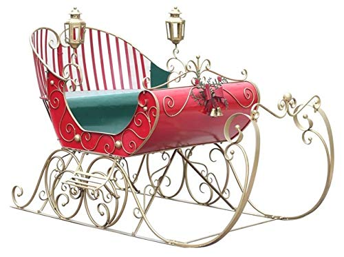 TisYourSeason Life-Size Christmas Outdoor Victorian Santa Sleigh Iron Commercial Christmas Decoration ()
