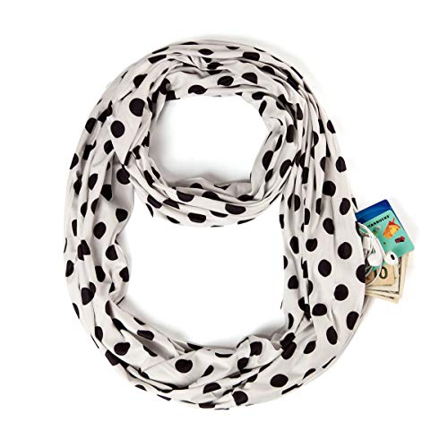 White Infinity Scarf with Dot - Zipper Pocket Scarf Women Print Ring Scarf Soft