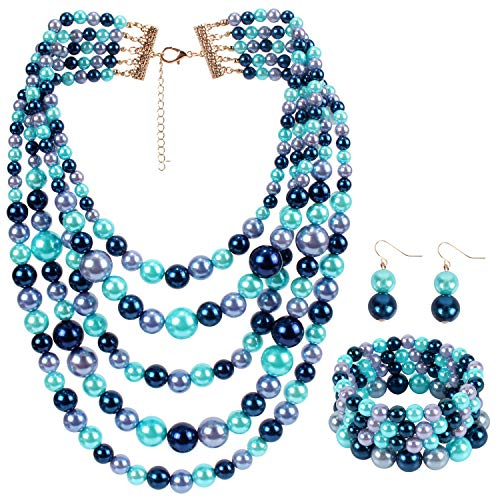 Pearl Blue Bracelet Necklace - LuckyHouse Faux Pearl Strands Jewelry Sets for Women Mix Blue Tone Include Necklace Bracelet and Earrings Set