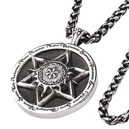 Punk Heavy Titanium Steel Star of David & Chinese Zodiacs Pendant Necklace for Men Women