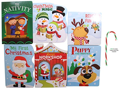 Set Of 6  Potomac Banks Santa Reindeer Nativity Cartoon Character Christmas Themed Children Story Book With Free 6  Candy Cane Ornament  Comes With Free How To Live Stress Free Ebook