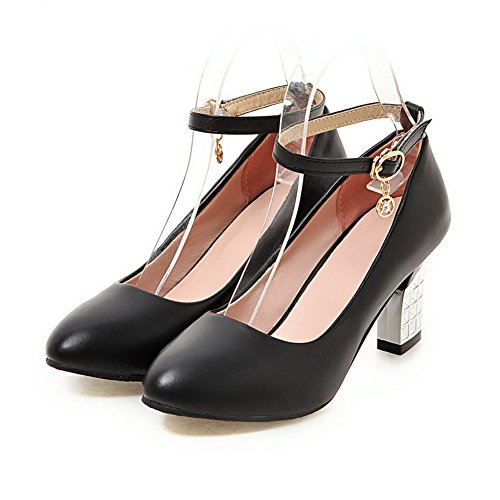 AllhqFashion Femme PU Cuir à Talon Haut Rond Boucle Chaussures Légeres Noir TtyQYwnZ