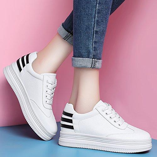 Zapatos Primavera Fondo Grueso Color White Calzado Frenillo Plano Placa Cuero Sfsyddy Casual De Mujeres Estudiantes Salvaje wt4awfqd
