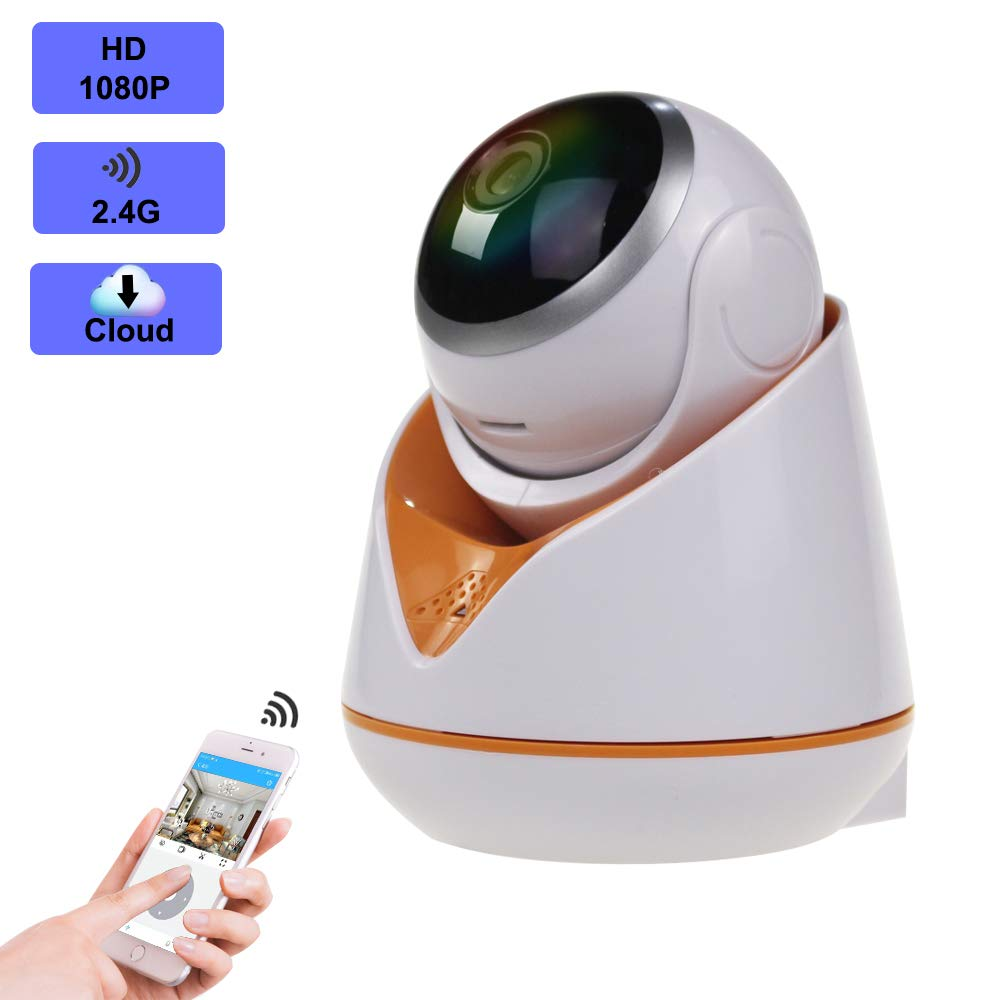 1080p Home Security Camera,EERIE Indoor 2.4G IP Security Surveillance with pan tilt Zoom Function,Two-Way Audio Night Vision for Camera iOS, Android App – Cloud Service Available White Orange