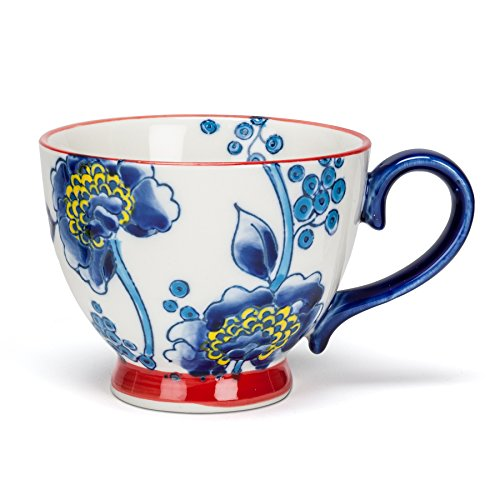 Abbott Collection Stoneware Blue Flower Cup w/ Handle (Floral Collection Blue Mug)
