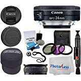 Canon EF-S 24mm f/2.8 STM Lens + 3 Piece UV Filter Kit 52mm + Fold-Over Lens Pouch + Lens Band + 5 Piece Lens Cleaning Kit + Cleaning Cloth + Lens Pen - Ultimate lens Accessory Bundle