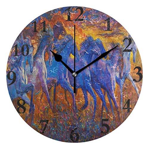 - Wall Clock Original Oil Painting Horse Art Silent Non Ticking Decorative Round Digital Clocks for Home/Office/School Clock