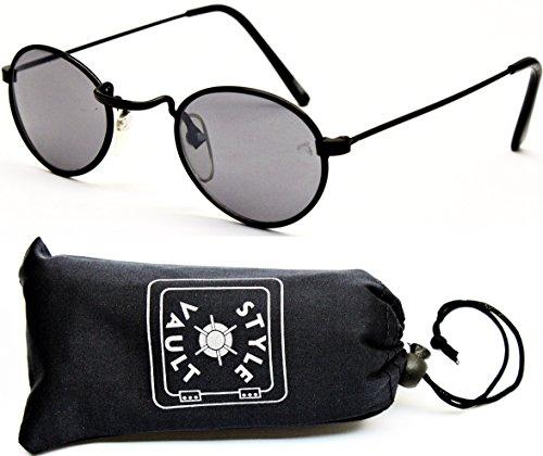 [KD3014-OP Kids Children's (0-1yr old) Metal Round Oval Sunglasses (079 Black-Dark)] (80s Metal Costumes)