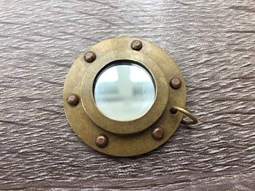 Rustic & Primitive Crafting Supplies (B) Manufactured to Look Antique Antique Finish Brass Porthole Mirror - Necklace Pendant Charm -Nautical Maritime Inspiration for A Project from Rustic & Primitive Crafting Supplies (B)