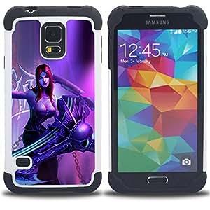 For Samsung Galaxy S5 I9600 G9009 G9008V - Superhero Woman Redhead Art Villain Girl /[Hybrid 3 en 1 Impacto resistente a prueba de golpes de protecci????n] de silicona y pl????stico Def/ - Super Marley S