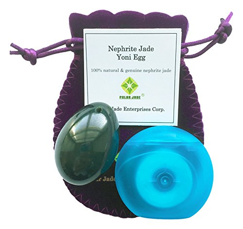 Polar Jade Nephrite Jade Egg, Medium, Drilled with Unwaxed String, Cleaning Brush and Instructions for All Levels of Users in Kegel Exercises to Gain Better Bladder Control to Prevent Incontinence