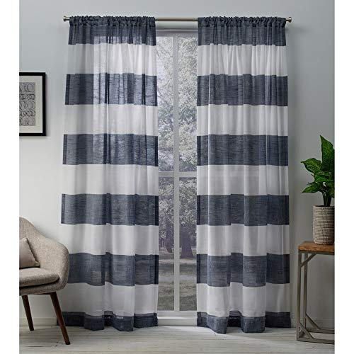 Exclusive Home Curtains Darma Sheer Linen Window Curtain Panel Pair with Rod Pocket, 50x84, Indigo, 2 Piece