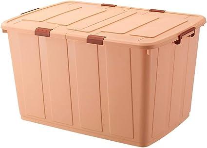 Caja de almacenamiento grande de 350 L, caja de almacenamiento de plástico con tapa, caja de almacenamiento rectangular, caja de almacenamiento cubierta, plástico, Dark khaki, 95 * 67 * 54.5cm: Amazon.es: Oficina y papelería