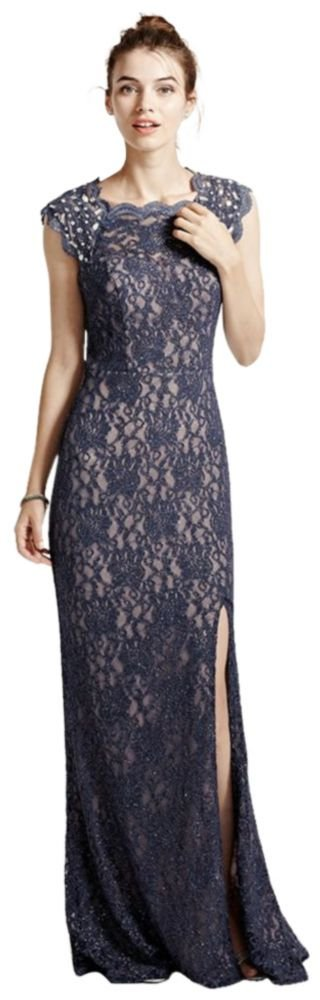 Long Lace Cap Sleeve Prom Dress with Keyhole Back Style 3329MT4D, Blue Steel, 13