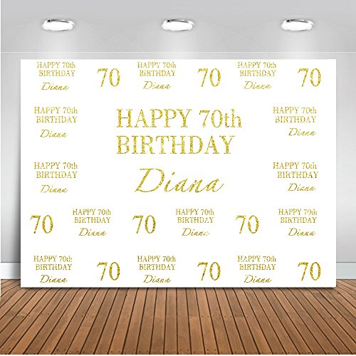 Mehofoto Customized 40th 50th 60th 70th Birthday Backdrop Custom Size Birthday Number Name Background 7x5ft Vinyl Gold Silver Step and Repeat Birthday Party Banner
