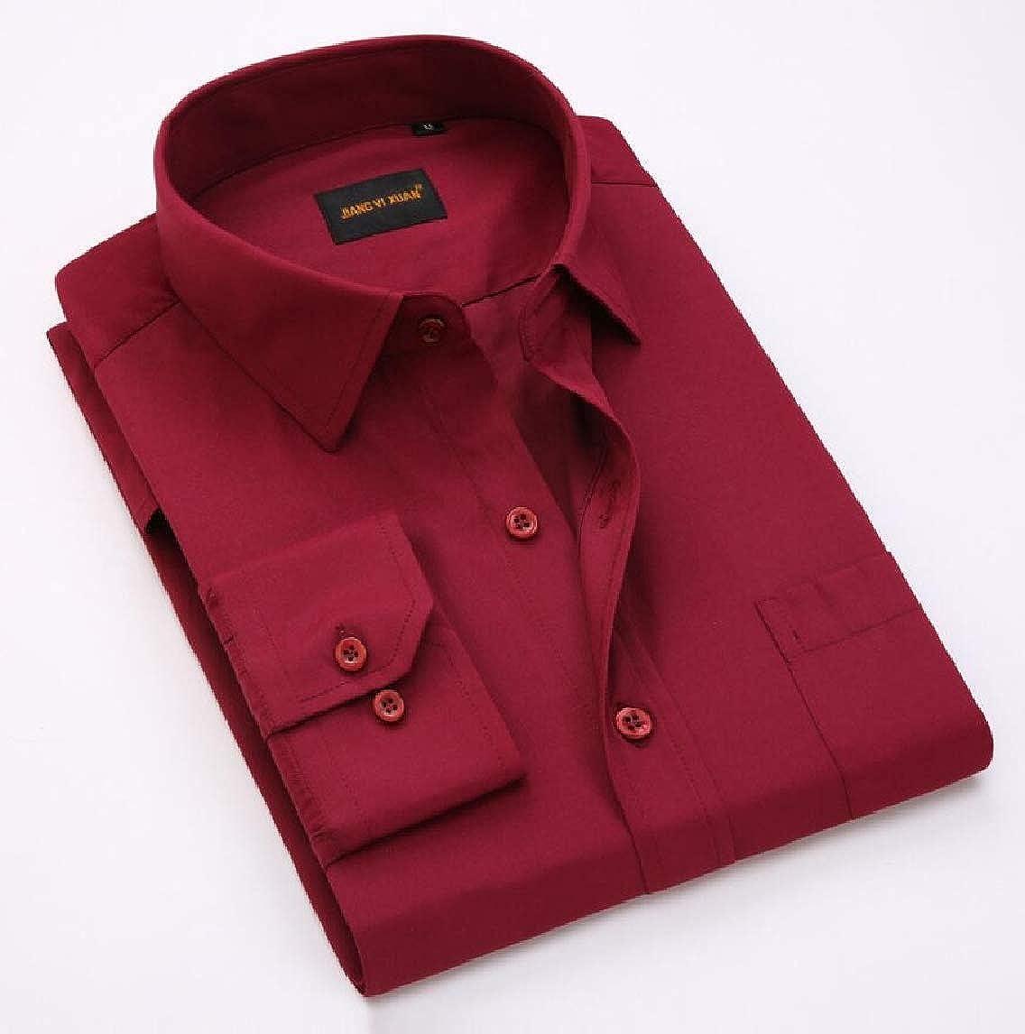 Yayu Men Casual Long Sleeve Button Down Dress Shirts Denim Shirt
