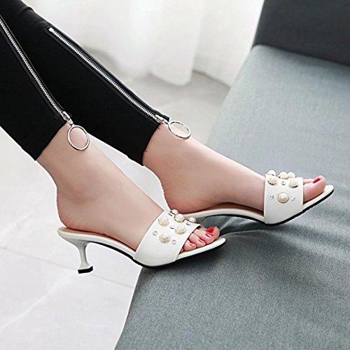 sulla Bianco Aperte Caviglia Donna AIYOUMEI Zx61q45