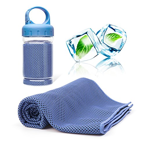 CKSOHOT Instant Cooling Towel for Neck, with Carrying Bottle, 40x12, Used as Cool Scarf Headband Wristband Bandana, Evaporative Chilly Sport Towel for Hiking Climbing Golf Fitness Yoga