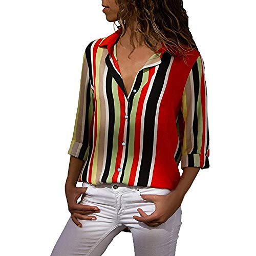 Designer Gold Pocket Watch - Wobuoke Womens Button Striped Casual Tops T Shirt Long Sleeve Color Block Work Office Pockets Top Blouse Tee