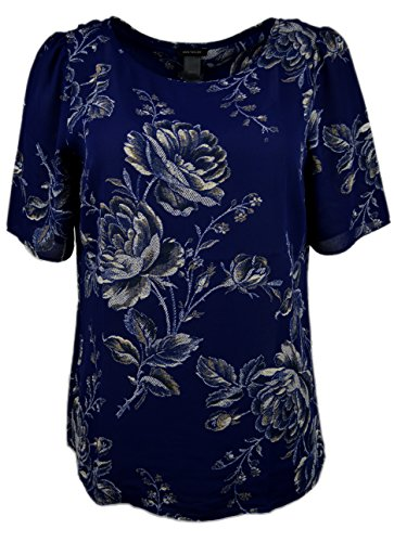 ann-taylor-womens-short-sleeve-split-back-floral-chiffon-blouse-navy-medium