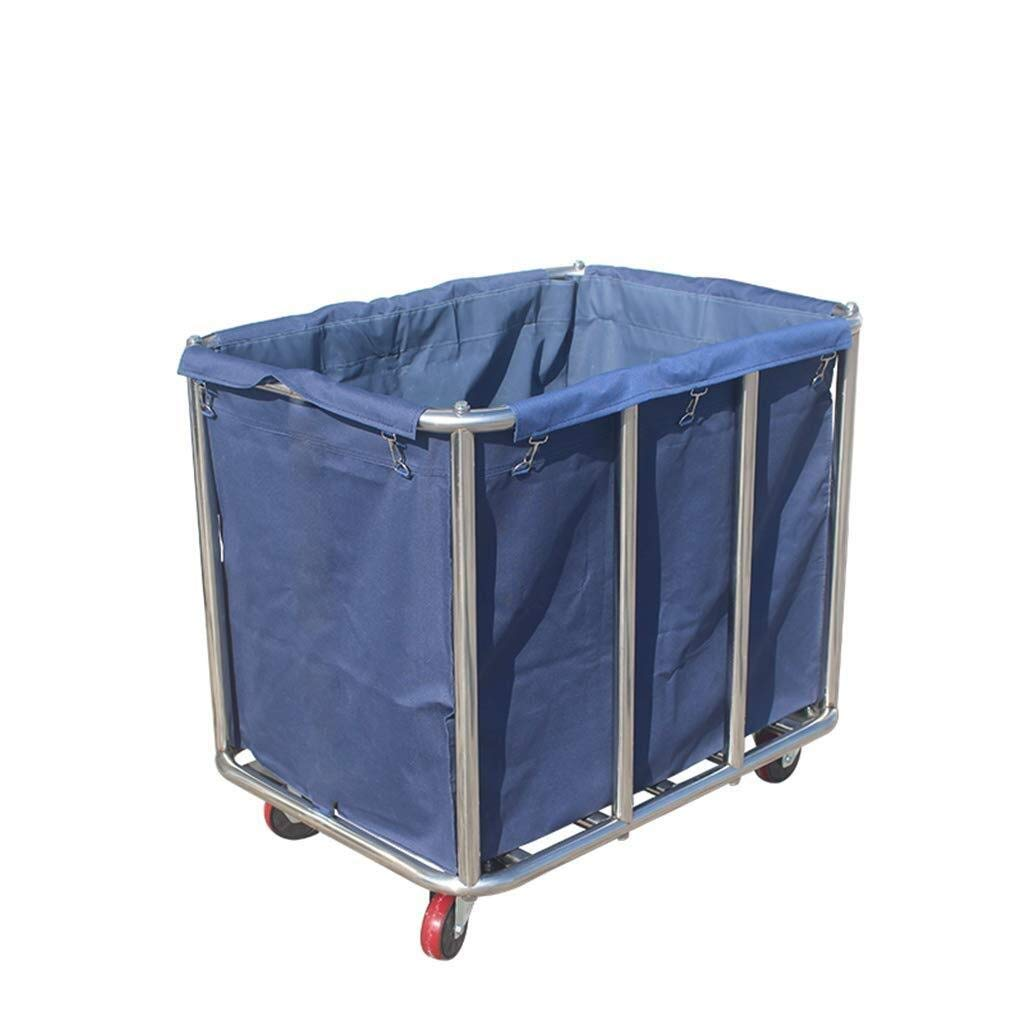 LQQFF Laundry Basket Trolley Trolley 4-Wheel Utility Steel Metal Trolley (Blue)