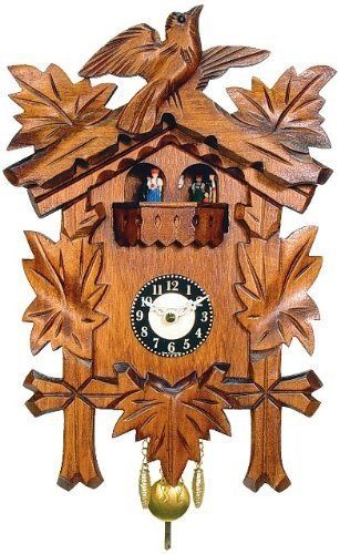 Black Forest Carved Clock with Leaves, Bird and Dancers by Alexander Taron