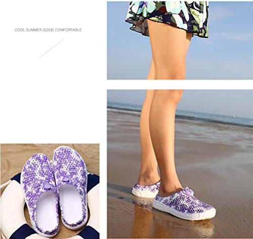 Sommer Schuhe Beach Hohlnetze Pedal RESPEEDIME Sandals Lazy Damen Lila Hausschuhe 8tfv1a