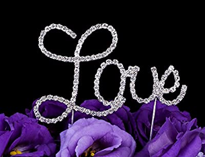 LOVENJOY with Gift Box Silver Glitter LOVE Crystal Rhinestone Wedding Cake Toppers for Engagement Anniversary Party Decoration (4.1-inch)