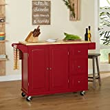 Modern Transitional Wood Natural Top Kitchen Cart with 3 Drawers 2 Door Cabinet Towel Holder and Spice Rack - Includes Modhaus Living Pen (Red)