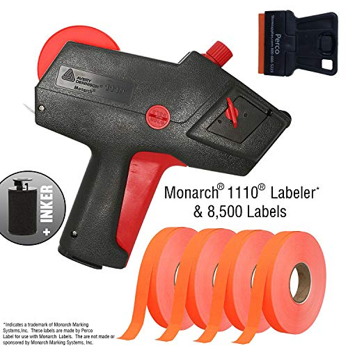 Starter Labeling Kit System - Monarch 1110 Price Gun with Labels Starter Kit: Includes Price Gun, 8,500 Fluorescent Red Pricing Labels and Preloaded Inker