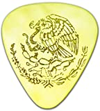 "Unique & Custom [0.38mm Thin Gauge - Traditional Style Semi Tip] Hard Luxury Guitar Pick Made of Genuine Solid Brass w/ Mexico State Flag Eagle & Snake Design ""Gold Yellow Colored"" {Single Pick}"