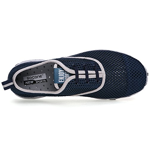 Mxson Herren Slip On Sneaker Mesh Casual Sport Walking Strand Aqua Schwimmbad Wasser Schuhe Dunkelblau