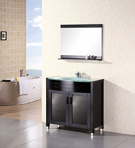 Design Element Waterfall Single Drop-In Integrated Glass Sink and Countertop Vanity Set with Espresso Finish, 36-Inch ()