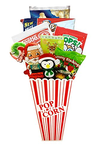 Movie Night Popcorn and Christmas Candy Gift Basket Plus Free Redbox Movie Rental Code Gift – Includes Popcorn Bucket, Theater Popcorn and Delicious Candy Snacks (Christmas Popcorn Gift – Individual)