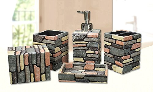 YOURNELO Western Rustic Sandstone Texture Bathroom Accessories Set of 5 - Set Rustic Tumbler