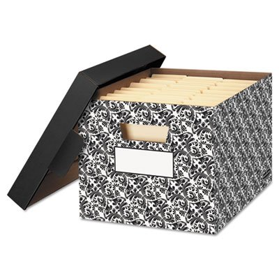 Decorative Corrugated Box - STOR/FILE? Decorative Medium-Duty Storage Boxes, Letter, Black/White Brocade, Sold as 4 Each